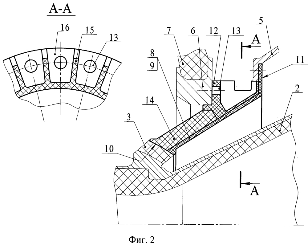 Фланец поворотного сопла ракетного двигателя из композиционных материалов