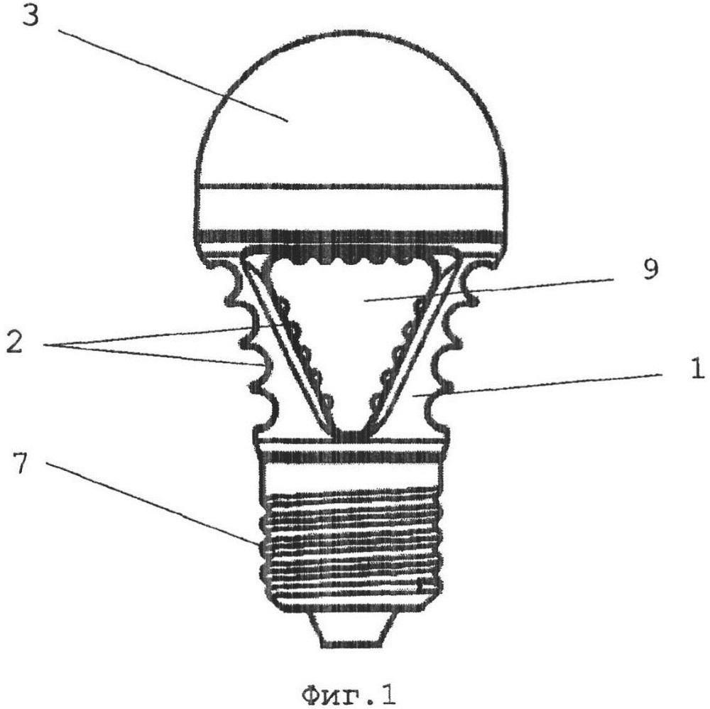 Светодиодная лампа общего назначения с литым корпусом-радиатором
