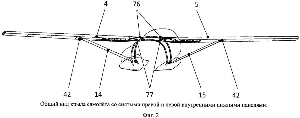 Крыло самолёта со съёмными нижними панелями, устройство для крепления нижних панелей и узел соединения подкоса с крылом