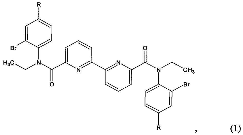 N,n'-диэтил- n,n'-ди(2-бром-4-r-фенил)диамиды 2,2'-бипиридил-6,6'-дикарбоновой кислоты и способ их получения, циклизация полученных амидов с образованием 6,6'-диэтил-9,9'-диr-дибензо[f]-1,7-нафтиридин-5,5'(6н,6'h)-дионов