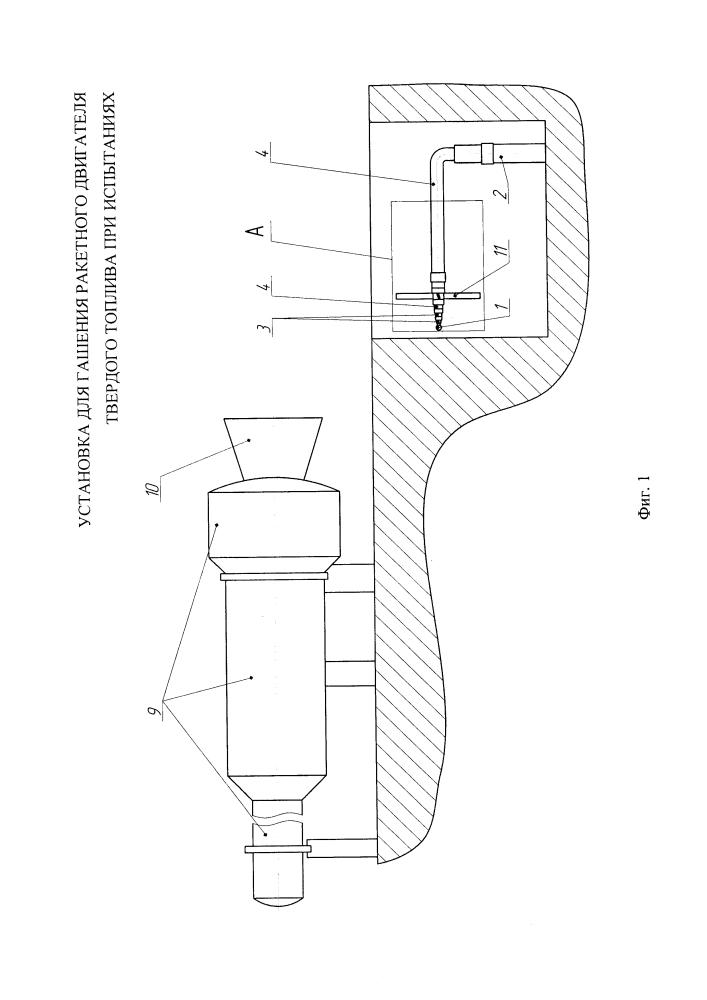 Установка для гашения ракетного двигателя твердого топлива при испытаниях