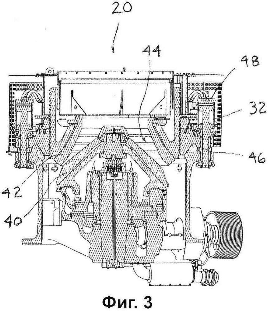 Устройство дробилки с перевернутым цилиндром разгрузки и способ его монтажа и демонтажа
