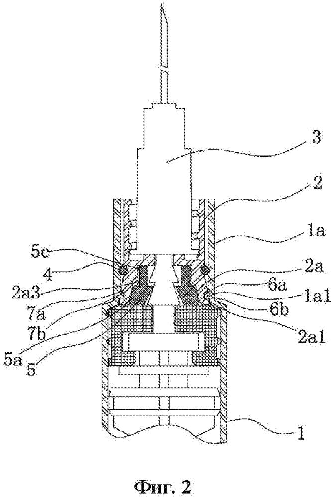 Соединительная конструкция для основания иглы шприца и корпуса шприца в безопасном шприце