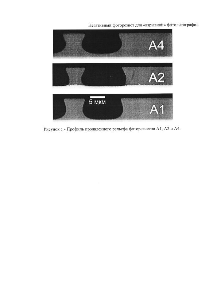Негативный фоторезист для взрывной фотолитографии