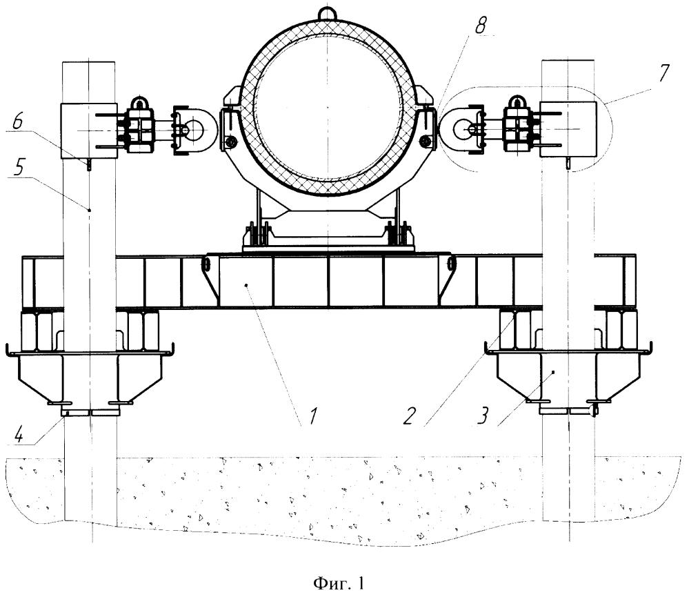 Сейсмостойкая четырехсвайная подвижная опора трубопровода и демпферное устройство для сейсмостойкой четырехсвайной подвижной опоры трубопровода