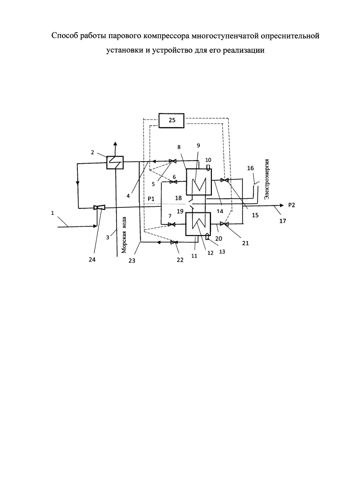 Способ работы парового компрессора многоступенчатой опреснительной установки и устройство для его реализации