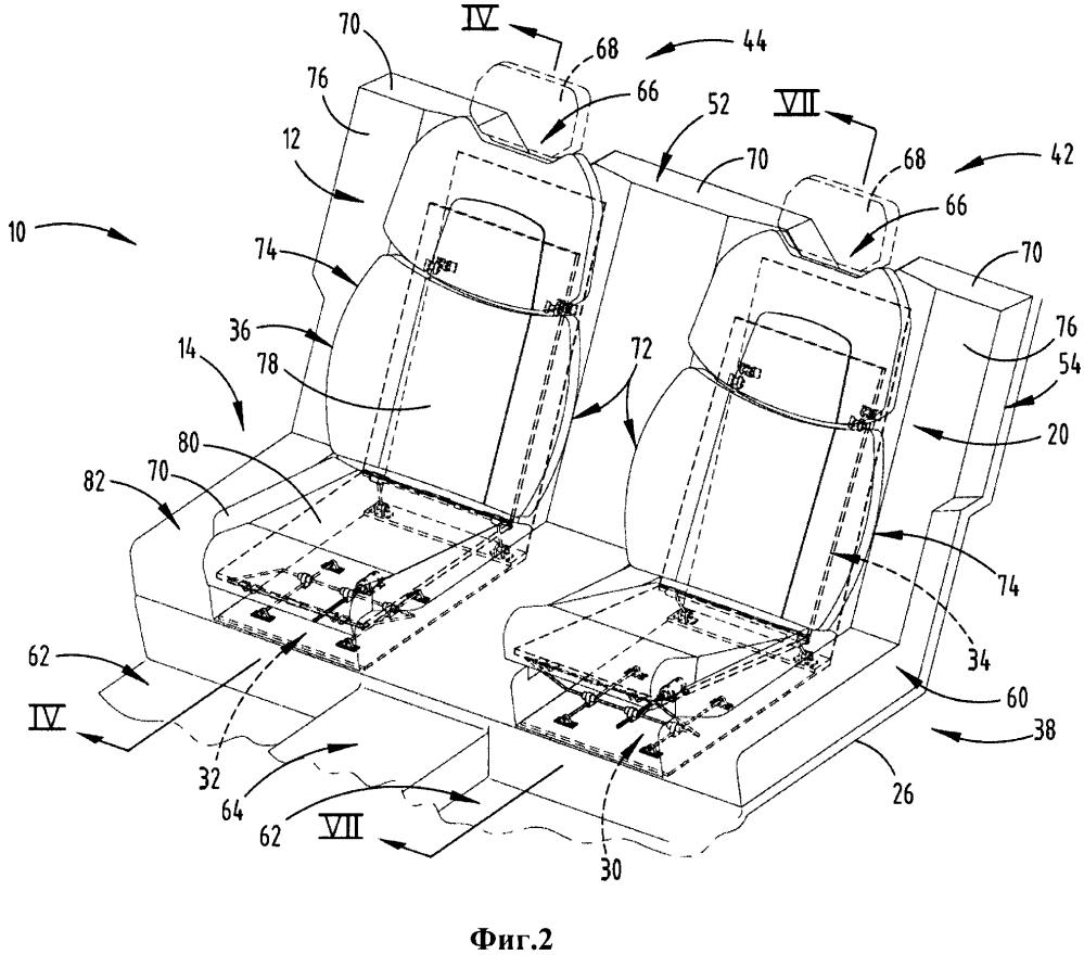 Кресло транспортного средства с регулируемыми спинкой и основанием