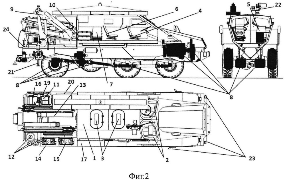 Самоходное бронированное транспортное средство обеспечения разминирования и подготовки объектов к разрушению и крепление для установки навесного оборудования
