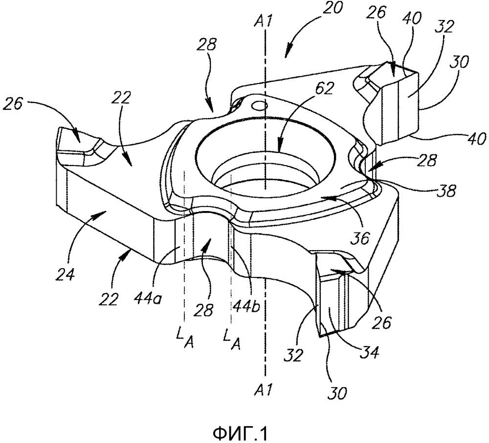 Режущий инструмент и режущая пластина, содержащая только три режущих участка, для него