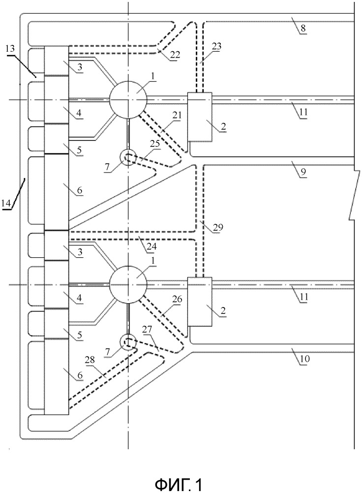 Схема строительства группы подземных выработок для установок радиационной части подземной атомной электростанции, расположенной перпендикулярно направлению вглубь горы
