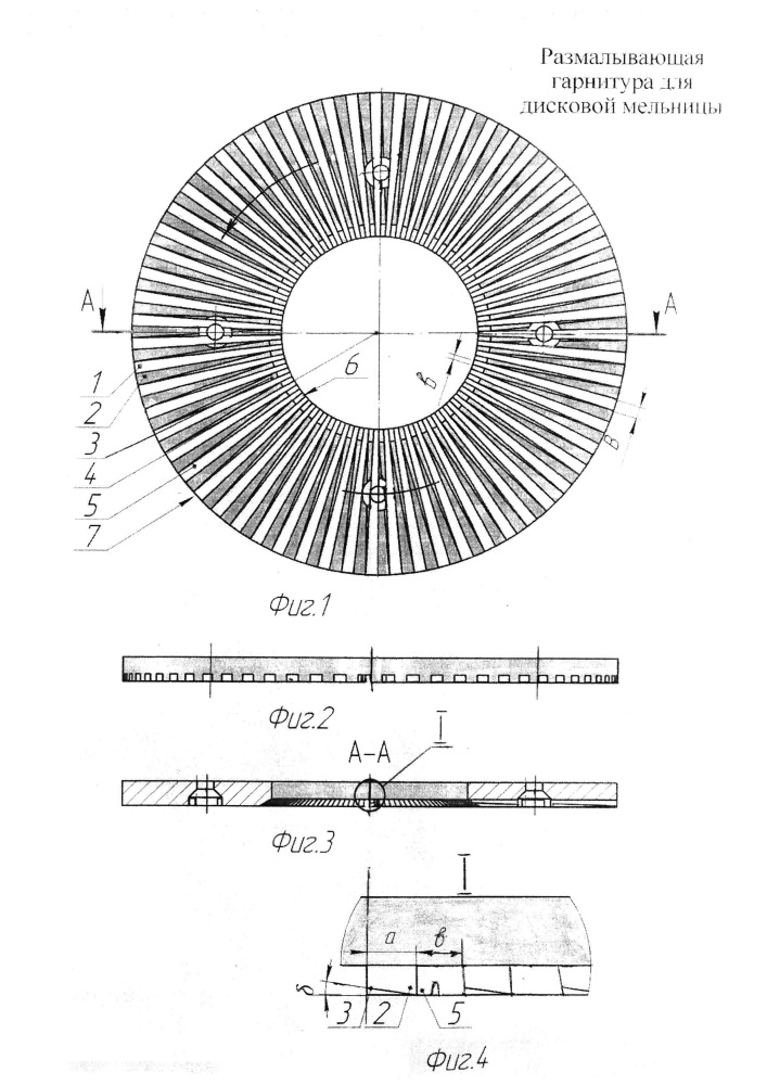 Размалывающая гарнитура для дисковой мельницы