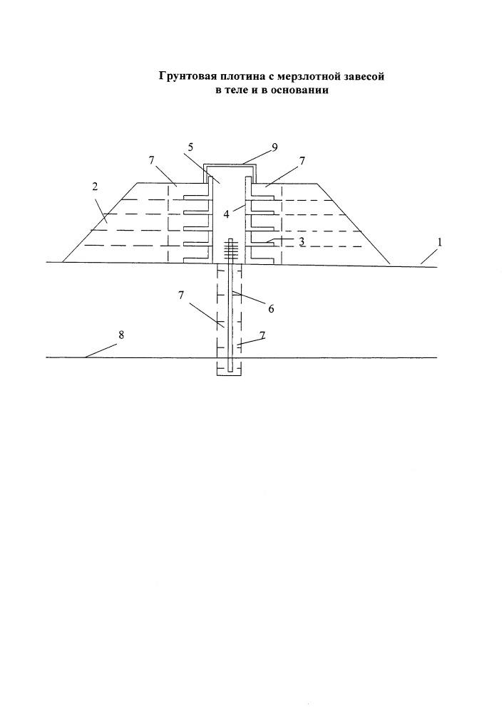 Грунтовая плотина с мерзлотной завесой в теле и в основании