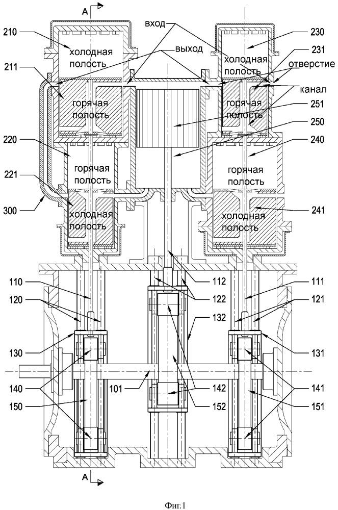 Двигатель внешнего сгорания на основе двигателя стирлинга гамма-типа, система привода и способ регулирования мощности двигателя