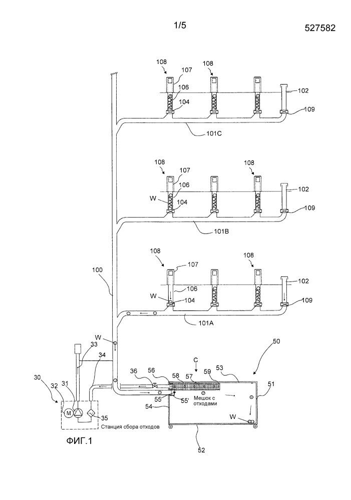 Способ и устройство в пневматической системе транспортировки материалов и контейнер для отходов/сепарационное устройство