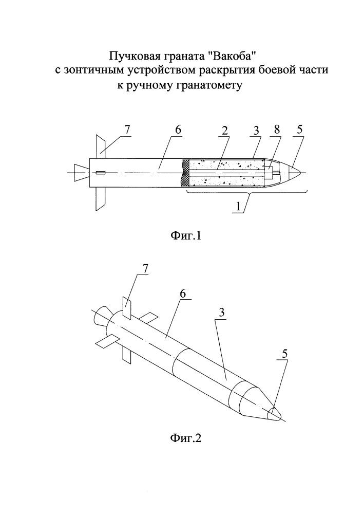 Пучковая граната вакоба с зонтичным устройством раскрытия боевой части к ручному гранатомету