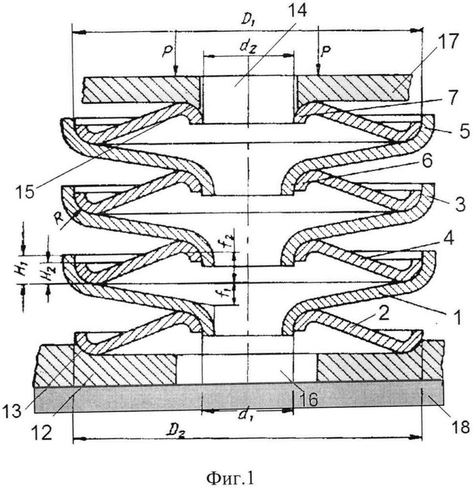 Кольцевая конусная пружина с демпфирующим основанием