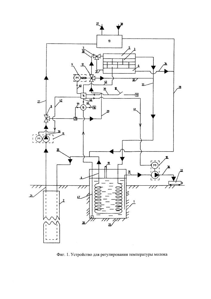 Способ регулирования температуры молока с использованием низкопотенциального источника энергии грунта