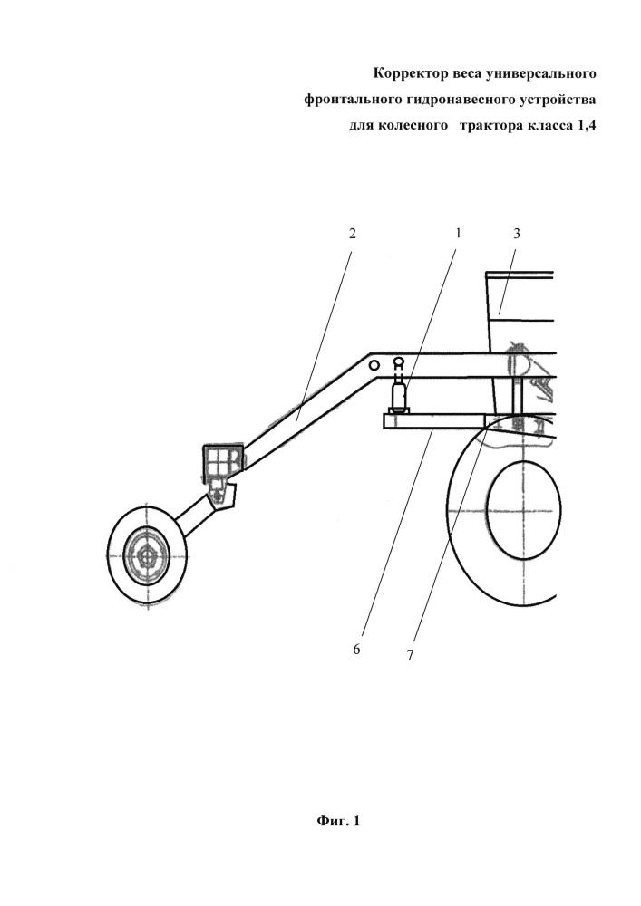 Корректор веса универсального фронтального гидронавесного устройства для колесного трактора класса 1,4