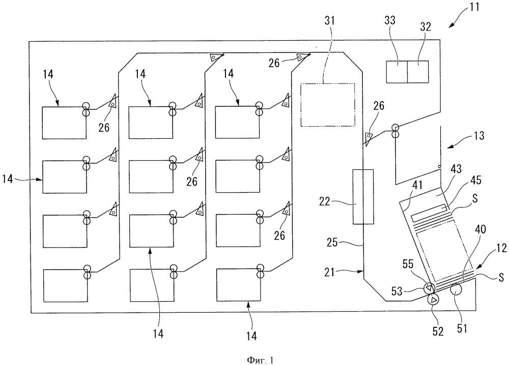 Устройство для обработки бумажных листов и разделительная карточка