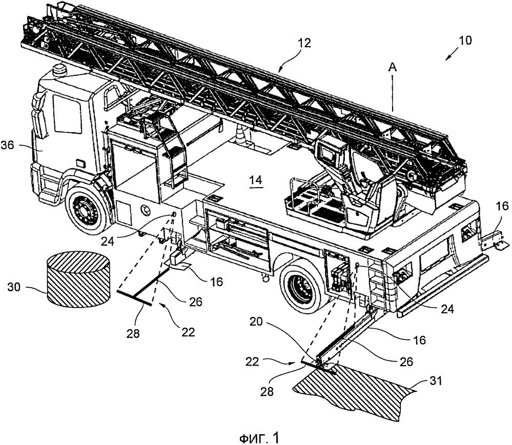 Специализированный автомобиль со вспомогательной системой для позиционирования боковых наземных опор