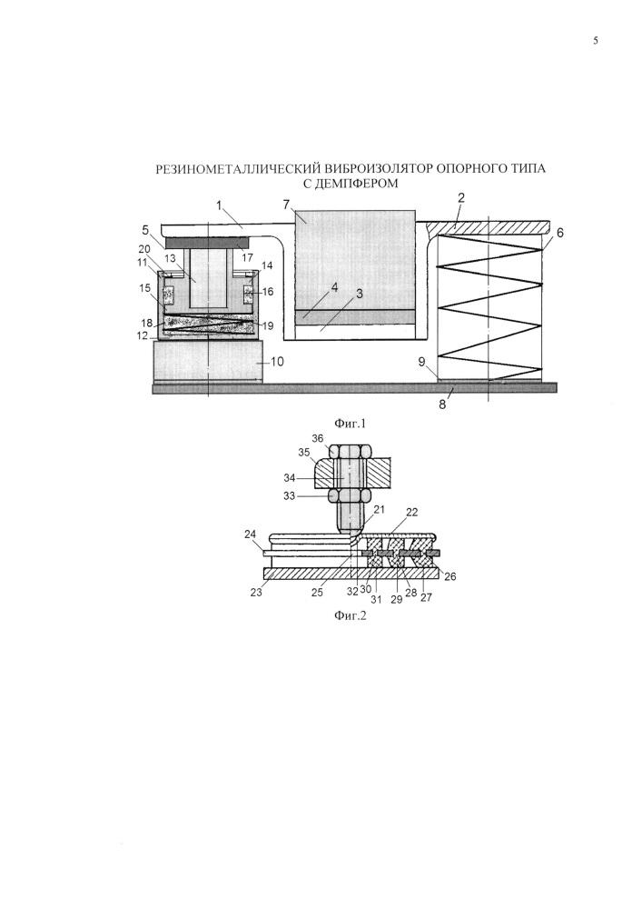 Резинометаллический виброизолятор опорного типа с демпфером