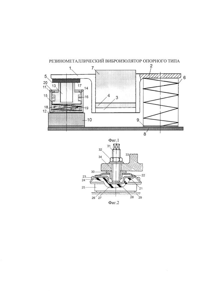 Резинометаллический виброизолятор опорного типа