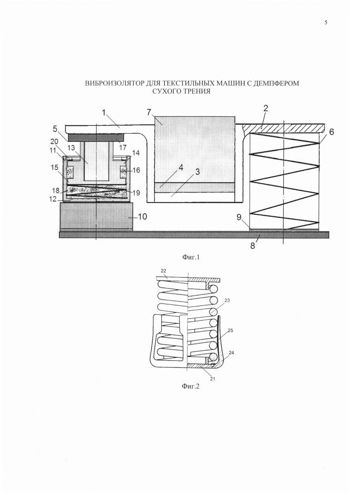 Виброизолятор для текстильных машин с демпфером сухого трения