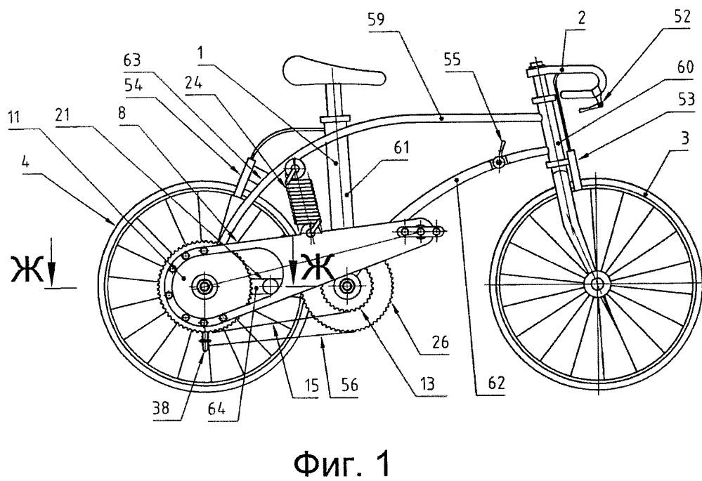 Транспортное средство, приводимое в действие мускульной силой человека, преимущественно велосипед