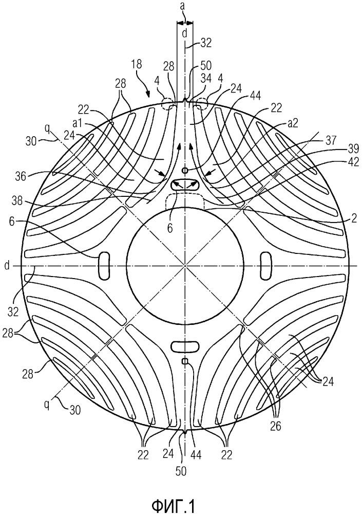 Реактивный синхронный ротор с выемкой для уменьшения напряжения