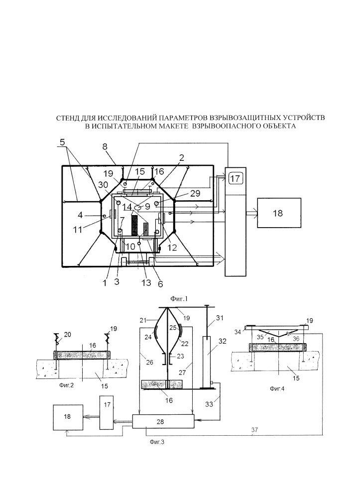 Стенд для исследований параметров взрывозащитных устройств в испытательном макете взрывоопасного объекта
