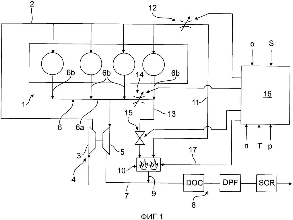 Способ и устройство для повышения температуры отработавшего газа в выпускном тракте двигателя внутреннего сгорания с турбонаддувом