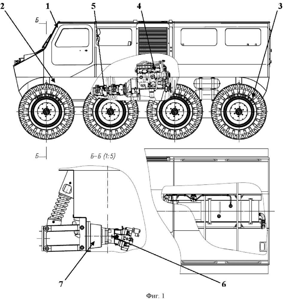 Плавающий снегоболотоход на шинах сверхнизкого давления с колесной формулой 8х8 с гидростатической трансмиссией и возможностью автоматического управления крутящими моментами каждого из колес