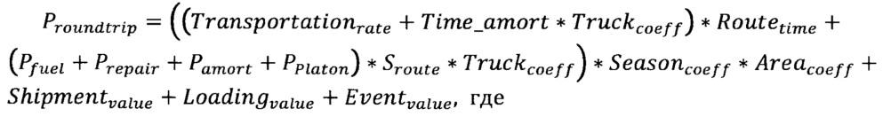 Способ определения стоимости грузоперевозки