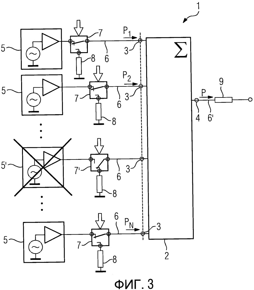 Устройство и метод генерации высокой радиочастотной мощности, способные компенсировать модуль усилителя мощности, находящийся в нерабочем состоянии