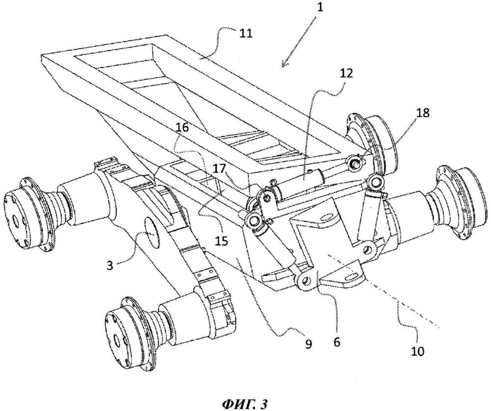 Устройство для обеспечения поворотного движения между тандемным или гусеничным мостом и корпусом транспортного средства, а также соответствующий способ