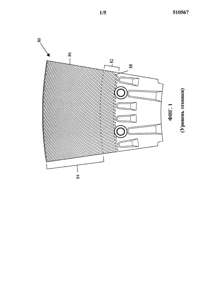 Элемент статорной пластины рафинера, содержащий изогнутые ножи и зазубренные ведущие кромки