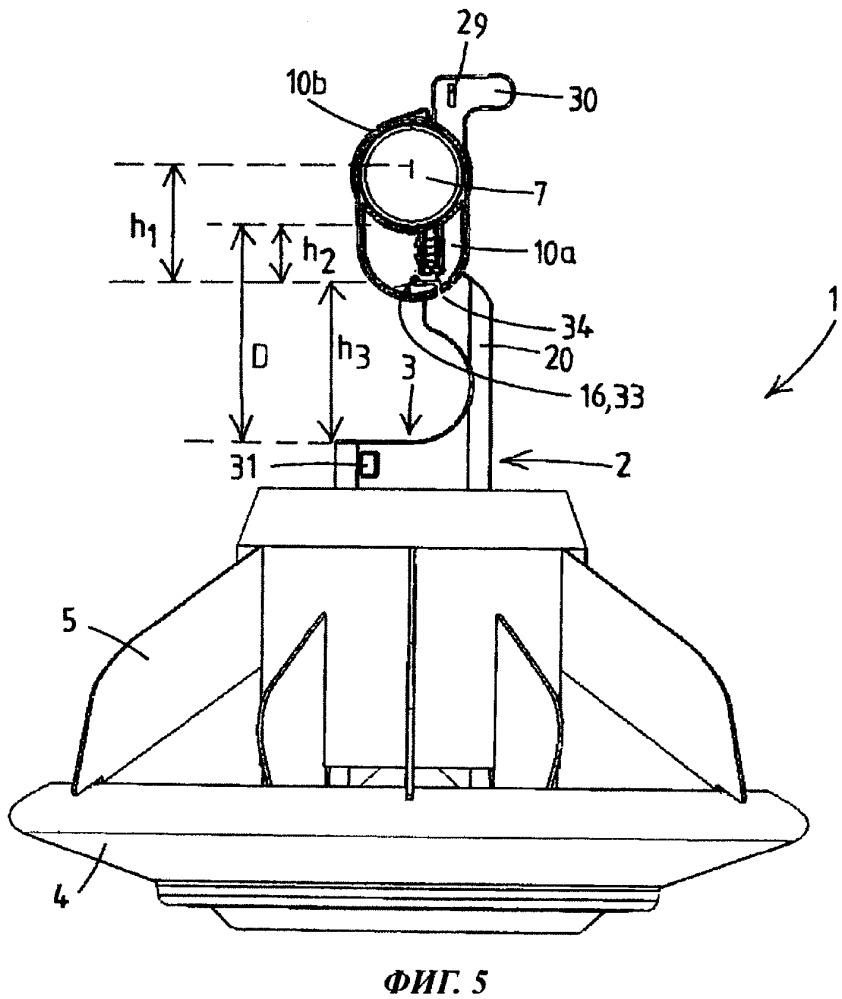 Система распределения корма для домашней птицы с подающими устройствами, снабженными поворотными крепежными элементами с шарнирно присоединенными к ним кормопроводами
