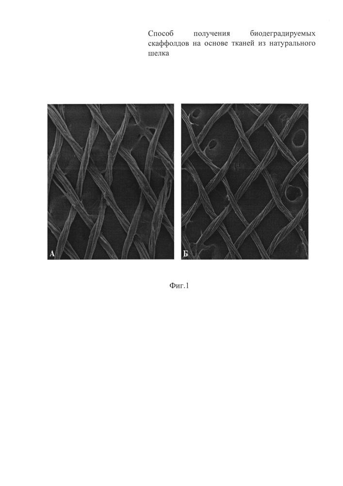 Способ получения биодеградируемых скаффолдов на основе тканей из натурального шелка