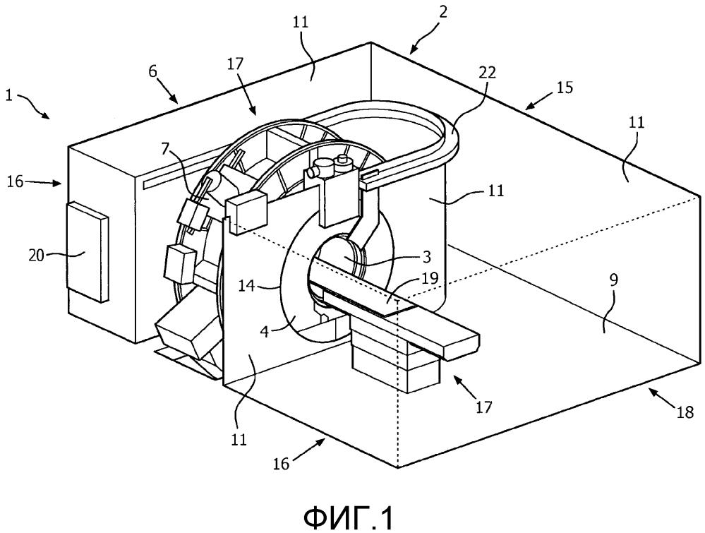 Радиочастотно экранированный диагностический кабинет системы магнитно-резонансной визуализации