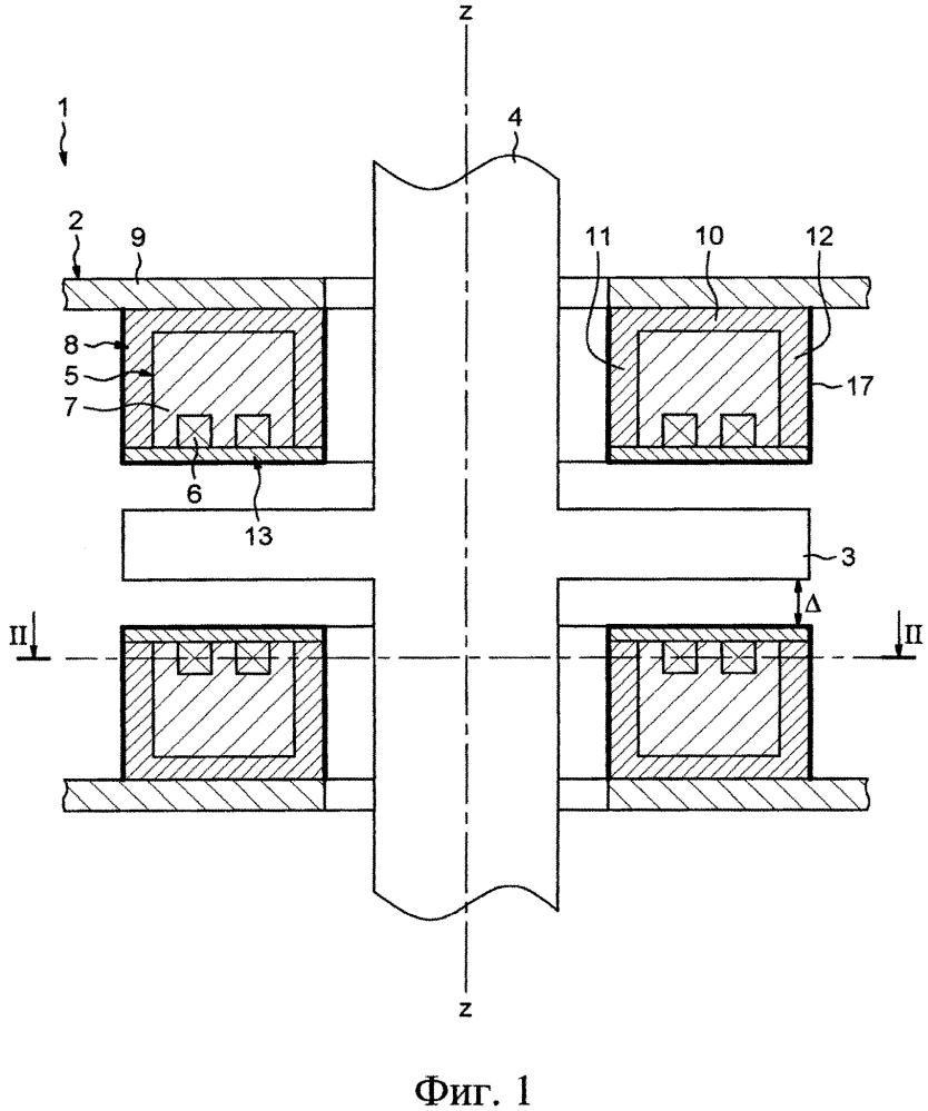 Заключенный в кожух магнитный подшипник и ротационная установка, содержащая такой подшипник