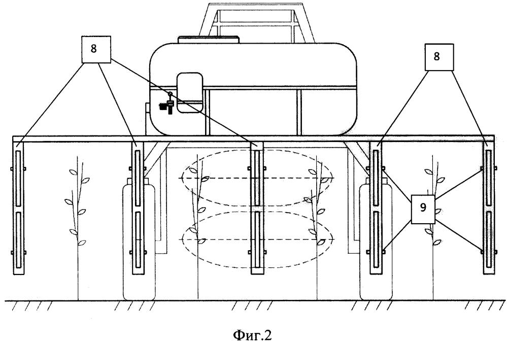 Опрыскиватель с устройством для магнитно-импульсной обработки растений в плодовом питомнике