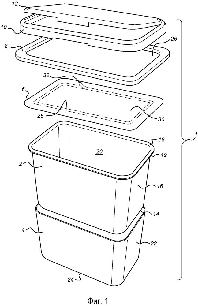 Термоформованный контейнер с крышкой