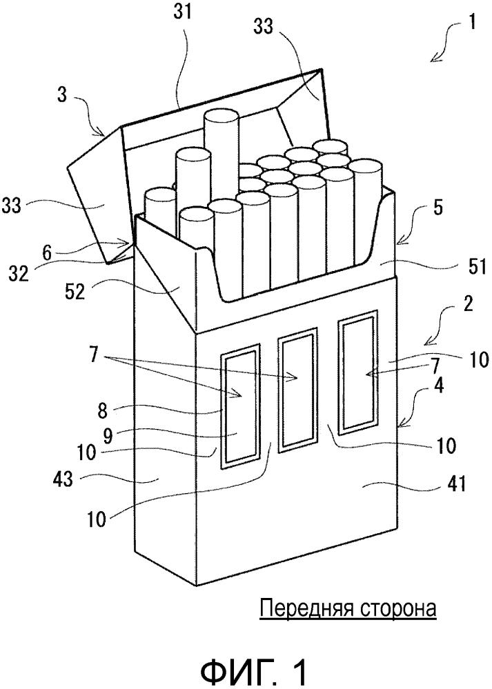 Упаковка для курительных изделий и заготовка упаковки для курительных изделий