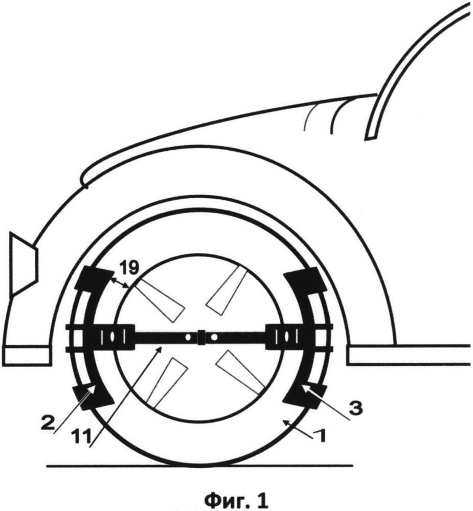 Модульное устройство противоскольжения и пробуксовки автоколёс