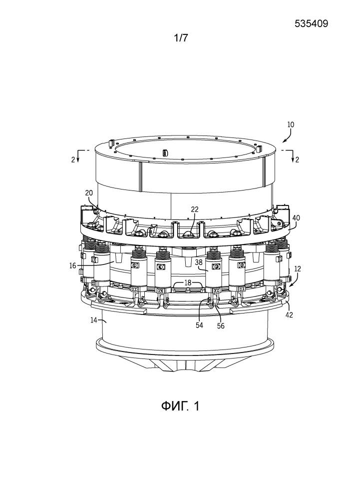 Разделенная главная рама, содержащая цилиндры для выпуска недробимых предметов