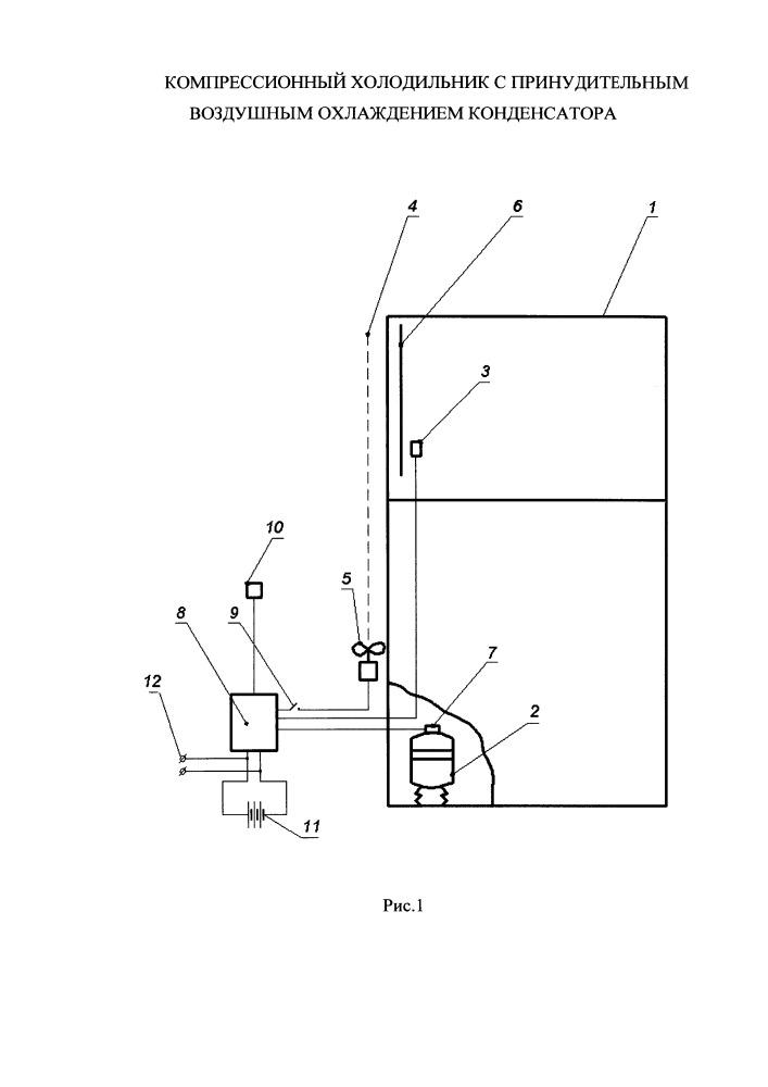 Компрессорный холодильник с принудительным воздушным охлаждением конденсатора