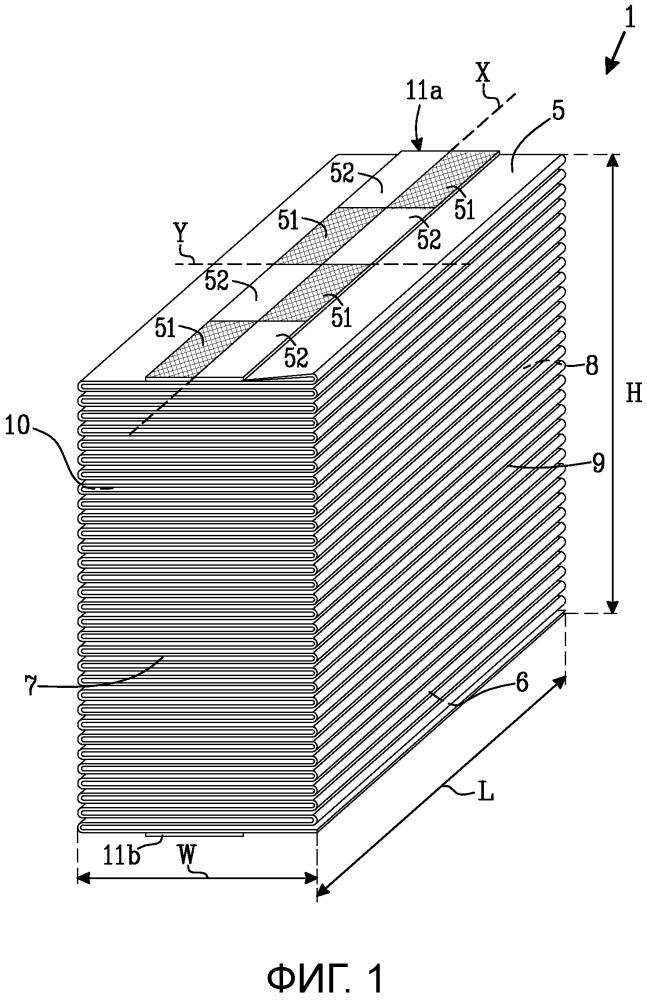Стопка сложенного гармошкой тонколистового материала, имеющая устройство для присоединения к другой стопке