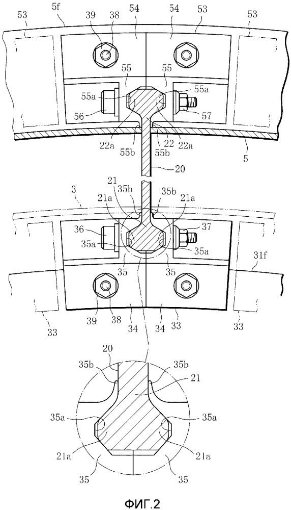 Соединительная конструкция для лопатки и реактивный двигатель, включающий такую конструкцию