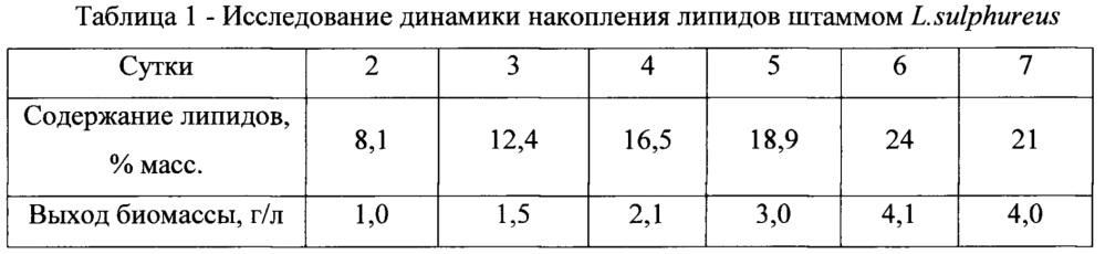 Штамм базидиомицета laetiporus sulphureus вкпм f-1286 - продуцент липидов