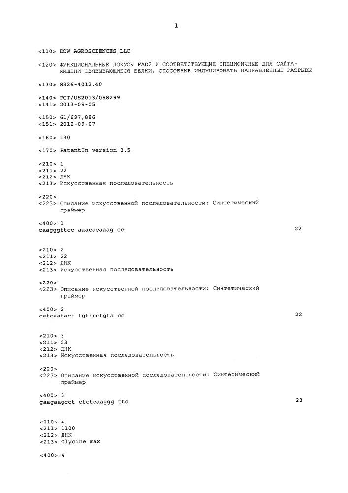 Функциональные локусы fad2 и соответствующие специфичные для сайта-мишени связывающиеся белки, способные индуцировать направленные разрывы